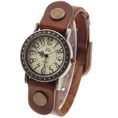 Fashionable JQ Genuine Leather Women's Watch Numerals Hour Marks Dial - Brown