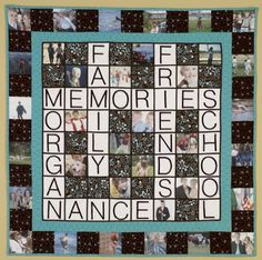 Baby Lock: Graduation Memory Quilt - FREE Patterns for Premium Members Only - Quilters Club of America Quilting Tutorials, Quilting Projects, Sewing Projects, Quilting Ideas, Scrabble Quilt, Sewing Machine Embroidery, Embroidery Ideas, Puzzle Quilt, Photo Quilts