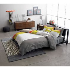 alpine gunmetal bed in bedroom furniture | CB2 brights + grays + wood...