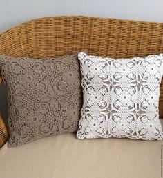 """Купить Комплект подушек """"День и ночь"""" - бежевый, белый, подушка, подушка декоративная, подушка на диван Crochet Box, Filet Crochet, Crochet Doilies, Crochet Cushions, Crochet Pillow, Cushion Covers, Pillow Covers, Knitted Pouf, Doilies Crafts"""