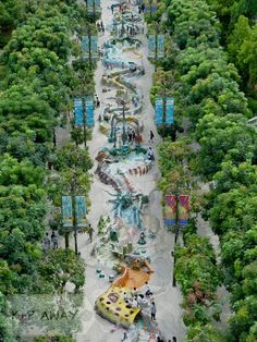 Sentosa Island park, Singapore. View of Merlion walk from atop the Merlion. Wow, Singapore knows how to spend money on art!
