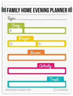 family home evening planner printable