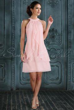 #85259 - Knee Length Sleeveless Sheath Chiffon Dress- Simply Bridal