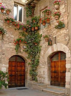 Photo about Beautiful wooden doors, cobblestone walls with potted plants and ivy. Image of assisi, plans, wooden - 3988915 Old Doors, Windows And Doors, Arched Doors, Entry Doors, Front Doors, Garage Doors, Italian Courtyard, Door Gate, Unique Doors