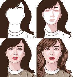 Vector Portrait: Erika Mori on Behance Digital Art Photography, Photography Illustration, Portrait Illustration, Digital Illustration, Graphic Illustration, Self Portrait Drawing, Portrait Art, Vector Portrait, Digital Portrait
