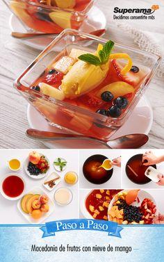 #Macedonia de #frutas con #nieve: Calienta 4 tzs. jugo de arándano, 1 tz. jugo de piña, 2 tzs. agua, ½ tz. azúcar, 1 raja de canela, 3 anís estrella, 1 cda. ralladura de naranja y hierve hasta reducir a la mitad. Vierte en un refractario y refrigera por 1 hora. Agrega 1 tz. duraznos picados, 1 tz. fresas rebanadas, 1 tz. manzanas picadas, 1 tz. melón picado y 1 tz. blueberries. Sirve en tazones con 1 bola de nieve de mango y hojas de menta.