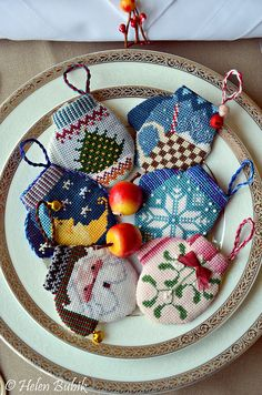 Cross stitch mitten ornaments,  designs from Cross Eyed Cricket.