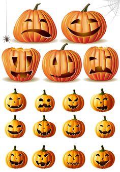 Funny Halloween pumpkins vector