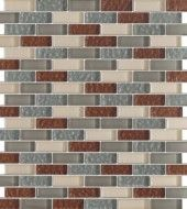 Vintrav Sienna & Grey 1/2 in. x 2 in. Glass Mosaic Tiles
