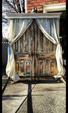 Love this look....Wonder if hubby could do something similar? Custom, hand built headboard. Made from salvaged doors from a 1930's house by SalvagedNJ on Etsy
