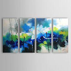 Peint à la main Abstrait / Paysages Abstraits Quatre Panneaux Toile Peinture à l'huile Hang-peint For Décoration d'intérieur