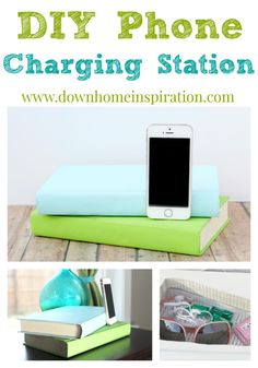 Love that you would never lose the cord! DIY Phone Charging Station Disguised as Books - Down Home Inspiration