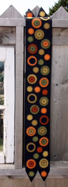 Pumpkin Patch Penny Rug - Finished Design - Ready To Ship! limited edition wool applique table runner for for thanksgiving or fall decor