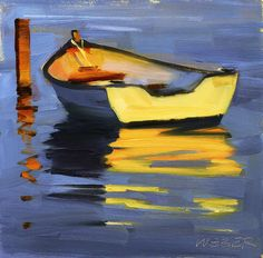 "Daily Paintworks - ""Skiff at sunset oil painting"" - Original Fine Art for Sale - © Kathy Weber Landscape Art, Landscape Paintings, Boat Painting, Underwater Painting, Painting Trees, Painting Canvas, Boat Art, Contemporary Abstract Art, Modern Art"