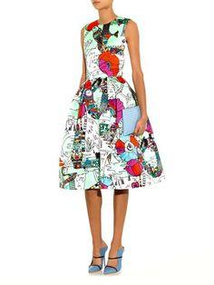 Mary Katrantzou Astere poppies-print satin dress