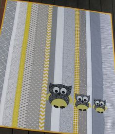 quilt cot crib baby nursery handmade grey yellow owls modern boy girl gift decor. $135.00, via Etsy.
