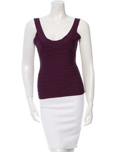 Purple Herve Leger sleeveless bandage top with scoop neck and concealed zip closure at back.