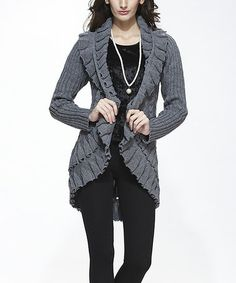Look what I found on #zulily! Gray Cable-Knit Wool-Blend Open Cardigan by Simply Couture #zulilyfinds