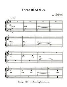 Three Blind Mice: free sheet music at Piano Song Download.