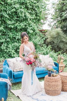 3bcf442702 Stylish Blue and Boho Wedding Inspiration Made for the Summer