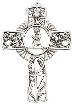 Jeweled Cross Boy's First Holy Communion Pewter Wall Cross