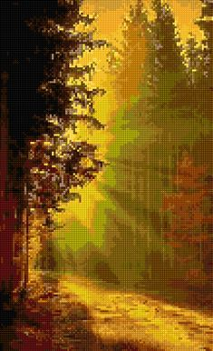 Autumn Forest Sunlight Cross stitch pattern PDF - EASY chart with one color per sheet AND traditional chart! Two charts in one! by HeritageCharts on Etsy