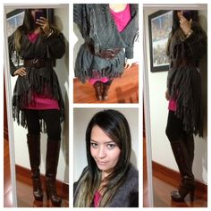 Fuchsia dress with a brown cardigan