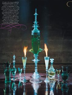 """Andy Paiko Glass - This photo was part of the """"Gothic Splendor"""" story produced by Mr Douglas Little of D.L.& Co, for the now (unfortunately) defunct House and Garden magazine. For all you absinthe-o-philes out there, I had nothing to do with the """"liberties"""" taken with respect to the absinthe ritual... (I know you're not supposed to light it, and the fountain ought to be filled with ice-water)."""
