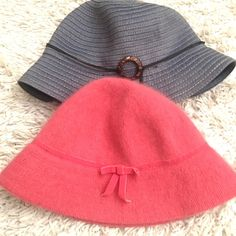 """Two bucket hats — Coral mohair/pleated denim Coral mohair-ish (poly/rabbit fur blend) bucket hat from Gap, size S/M. Pleated blue hat with tortoise circle (not real tortoise shell) from local upscale boutique - no label. Blue hat measures 22.5"""" inside circumference, coral 21"""". Blue was a little big on me but still super cute - coral has a little give. I think I wore the blue one once and the coral one 3-4 times. No imperfections. GAP Accessories Hats"""