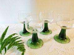 Vintage Roemer German wine glasses set of four / green stemmed