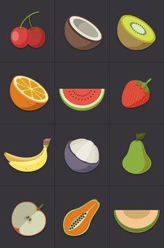 Fruit Icons by buatoom , via Behance