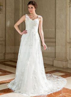 Bröllopsklänningar - $229.99 - A-linjeformat Hjärtformad Domstolen Tåg Tyll Bröllopsklänning med Rufsar Spetsar