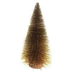 """Bottle Brush Tree with Wood Base Gold 12""""   -Threshold™"""