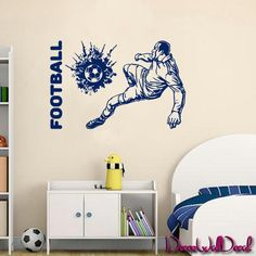 Wall Decal Football ball Player Kicking Soccer Sport goalkeeper keeper M1708. Thank you for visiting our store!!! Please read the whole description about this item and feel free to contact us with any questions! Vinyl wall decals are one of the latest trends in home decor. Vinyl wall decals give the look of a hand-painted quote, saying or image without the cost, time, and permanent paint on your wall. They are easy to apply and can be easily removed without damaging your walls. Vinyl wall...