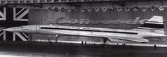 The prototype of the The Anglo-French Concorde Supersonic Airliner, standing in a hanger at Toulouse before it was rolled out. - 1967