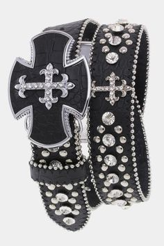 Crystal Cross Studded Belt Black, $43.00 (http://www.cowgirlblingranch.com/products/crystal-cross-studded-belt-black.html)