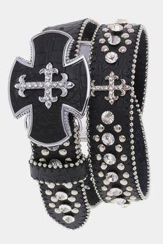 Crystal Cross Studded Belt Black, $43.00 (http://www.cowgirlblingranch.com/products/crystal-cross-studded-belt-black.html)