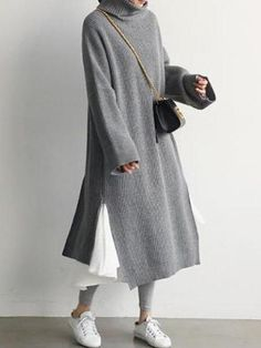 2019 New Stylish sheinstreet Women Fashion clothes Casual Simple Pure Color Loose High Collar Knitted Sweater Maxi Dress Gray one size Mode Outfits, Fashion Outfits, Fashion Clothes, Style Fashion, Fashion Fall, Dress Fashion, Fashion Fashion, Korean Fashion, Womens Fashion