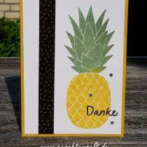 Stampin up, Pineapple, Stempel bespritzen, Anleitung in Bildern, Tutorial, Technik Sonntag, Zum Dank, Thankful Thoughts