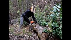 Stihl MS-391 in a Womans Hands