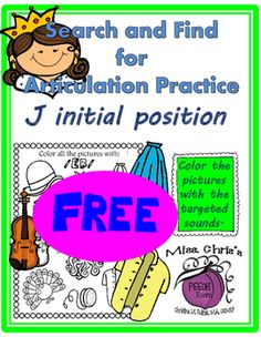 Here is a sample from my Search and Find Picture Search for Articulation Practice. This activity focuses on identifying pictures that begin with the /J/ or /d3/ sound.  Thanks for stopping by!!
