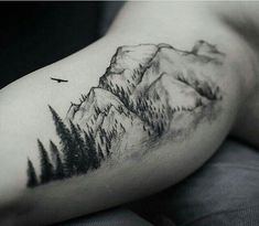 What does mountain tattoo mean? We have mountain tattoo ideas, designs, symbolism and we explain the meaning behind the tattoo. Body Art Tattoos, New Tattoos, Sleeve Tattoos, Tattoos For Guys, Tatoos, Tribute Tattoos, Guy Back Tattoos, Tattoo Drawings, Diy Tattoo
