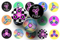 Fidget spinners are hot! Create some fun kid's crafts with this sheet of fidget spinner bottle cap images. This digital download sheet of 1 inch circles are perfect for making any of the following:  * Bottle cap crafts * Print your own planner stickers * Magnets * Key chains * Pendants * Cup cake toppers *Badge Reels Click on the image to download yours today!