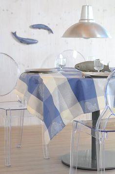 Stof - Nappe enduite MARISCO - 100% Coton The Artist, Chair, Weaving, Furniture, Home Decor, Blue, Tablecloths, Cotton, Decoration Home