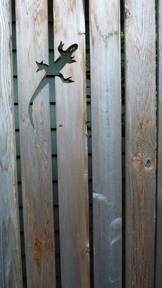 Lizard cutout in the fence