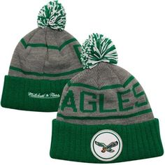 Mitchell & Ness Philadelphia Eagles Throwback High 5 Cuffed Knit Hat - Midnight Green/Gray