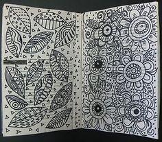 doodles in sketchbook at The Sketchbook Challenge Tangle Doodle, Doodles Zentangles, Zen Doodle, Zentangle Patterns, Doodle Art, Doodle Patterns, Art Journal Pages, Art Journals, Doodle Inspiration