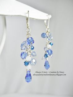Swarovski Shades of Blue Crystal Earrings by AlwaysAStory on Etsy, $30.00