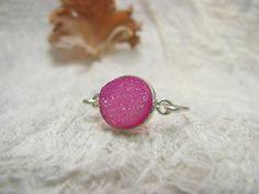 Ring Silber Achat pink von Querbeads Atelier auf DaWanda.com