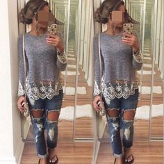 """Grey lace top Super chic.Super cute and quality. Lace decorations the bottom and sleeves-2. Size XL (Asian XXL) Stretchable. Tw. Five  . (NWOT-new without tag) Bust, XL is around 38 -39 inches. Size L bust: 36-38 inches. Size M: bust 35-37"""", size S bust: 34-36"""" xs: 33-35"""" Tops Tees - Long Sleeve"""